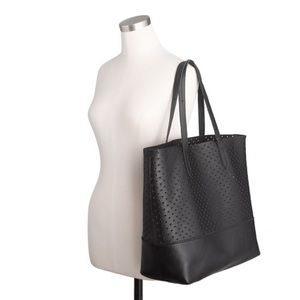 J. Crew Downing Perforated Heart Leather Tote Bag